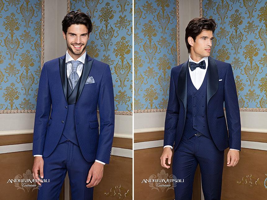 36ff8c815af75f smoking-completo-uomo-cerimonia-Andrea-Versali. Abito sposo in tessuto  micro piè de poule blu elettrico ...